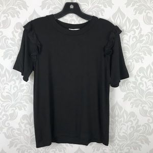 Amelia James Black Ruffle Sleeve Tee